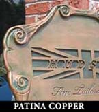 sign plaque patina copper